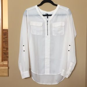 White Maurice's blouse with functional zipper